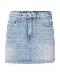 FRAME Blue Le Mini Distressed Denim Skirt