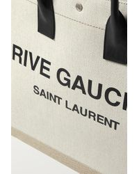 Saint Laurent Natural Noe Leather-trimmed Printed Canvas Tote
