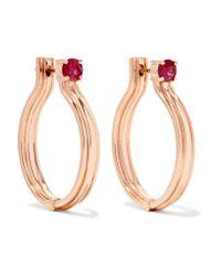 Melissa Kaye Metallic Jen Maia 18-karat Rose Gold Ruby Earrings Rose Gold One Size