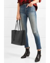 Saint Laurent - Black Shopping Large Textured-leather Tote - Lyst
