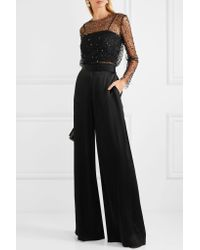Reem Acra Black Embellished Tulle And Crepe Top