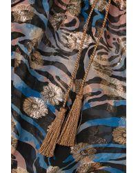 Dundas Multicolor Schulterfreies Oberteil Aus Chiffon Aus Einer Seidenmischung Mit Fil Coupé In Metallic-optik