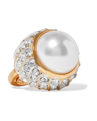 Kenneth Jay Lane - Metallic Gold-plated, Crystal And Faux Pearl Ring - Lyst