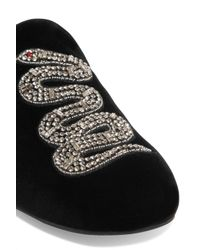 Gucci Black Crystal-embellished Velvet Slippers