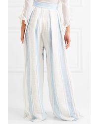 Three Graces London Blue Kilmar Striped Linen-blend Wide-leg Pants