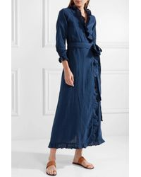 Rhode Resort - Blue Jagger Ruffled Cotton-gauze Maxi Wrap Dress - Lyst