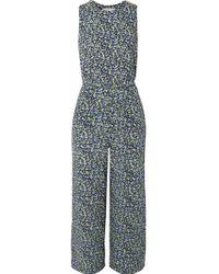 MICHAEL Michael Kors Blue Belted Floral-print Crepe Jumpsuit