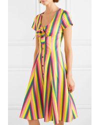 Staud Pink Alice Striped Poplin Dress
