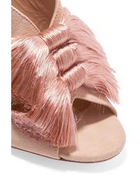 Aquazzura - Pink Lotus Blossom Fringed Bow-embellished Suede Mules - Lyst