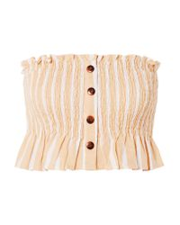 Faithfull The Brand Natural Sloan Shirred Striped Linen Top