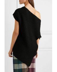 Roland Mouret Black Moran Drapierter Pullover Aus Gerippter Baumwolle Mit Asymmetrischer Schulterpartie