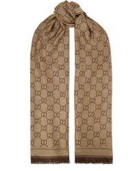 Écharpe Réversible En Laine Intarsia Sten Gucci en coloris Brown