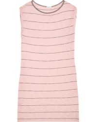 Splendid - Pink Striped Stretch Cotton And Modal-blend Mini Dress - Lyst