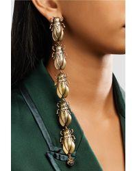 Gucci Metallic Gold-tone, Faux Pearl And Enamel Earrings