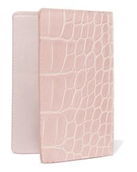 The Case Factory - Pink Croc-effect Leather Passport Cover - Lyst