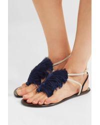 Aquazzura Blue Woman + Johanna Ortiz Tangier Tasseled Two-tone Suede Sandals Multicolor