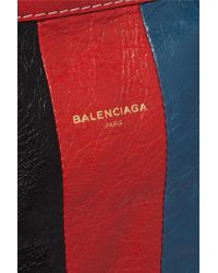 Balenciaga Red Bazar Small Striped Leather Shopper Tote Bag