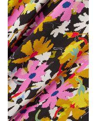 Saloni - Pink Gemma Open-back Floral-print Silk Crepe De Chine Midi Dress - Lyst