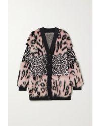 Stella McCartney Pink Cardigan Aus Strick Und Faux Fur Mit Leopardenmuster
