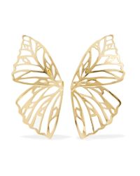 Jennifer Fisher - Metallic Butterfly Gold-plated Earrings Gold One Size - Lyst