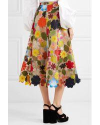 Rosie Assoulin - Multicolor Hodges Podges Floral-appliquéd Silk-organza Midi Skirt - Lyst