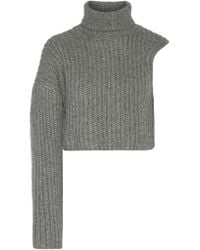 Michael Kors | Gray One-shoulder Cropped Wool And Mohair-blend Turtleneck Sweater | Lyst