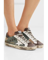 Golden Goose Deluxe Brand Multicolor Super Star Distressed Printed Canvas, Leather And Suede Sneakers