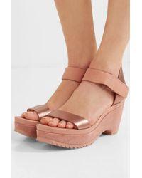 Pedro Garcia Multicolor Franses Metallic Leather Wedge Sandals