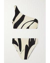 Haight Black Perlin One-shoulder Two-tone Printed Bikini