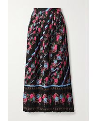 Erdem Black Nolana Pleated Floral-print Satin-jacquard Midi Skirt