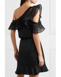 Mini-robe Asymétrique En Satin Et En Dentelle Guipure Self-Portrait en coloris Black