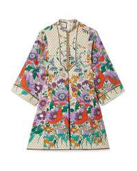 Gucci White Printed Cotton-poplin Mini Dress