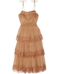 Zimmermann - Natural Meridian Circle Lace-trimmed Embroidered Silk-georgette Dress - Lyst