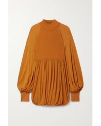 Proenza Schouler Orange Paneled Jersey And Ribbed-knit Blouse