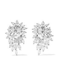 Kenneth Jay Lane - Metallic Cluster Rhodium-plated Cubic Zirconia Earrings - Lyst