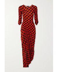 Preen By Thornton Bregazzi Red Asymmetrisches Kleid Aus Stretch-crêpe Mit Gingham-karo