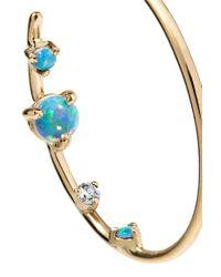 Wwake Metallic 14-karat Gold, Opal And Diamond Hoop Earrings