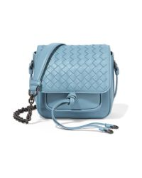 Bottega Veneta Blue Saddle Mini Intrecciato Leather Shoulder Bag