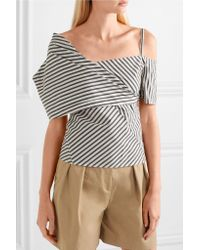 Theory White Striped Stretch Cotton-blend Top