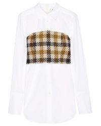 Sea | Brown Cotton-poplin And Checked Tweed Shirt | Lyst