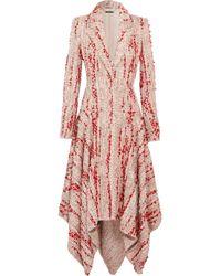 Alexander McQueen Frayed Bouclé-tweed Coat Pastel Pink