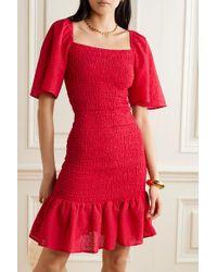 Marysia Swim Red Minikleid Aus Perforierter Baumwolle Mit Raffungen