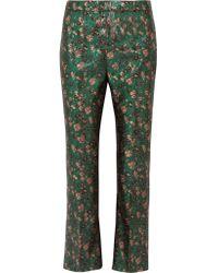 Prada Green Metallic Floral-jacquard Flared Pants