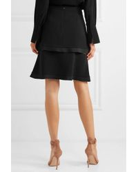 Stella McCartney Black Tiered Tulle-trimmed Cady Skirt