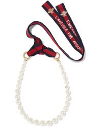 Gucci - White Faux Pearl, Gold-tone And Embroidered Grosgrain Necklace - Lyst