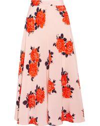 Ganni Multicolor Harness Floral-print Silk Crepe De Chine Midi Skirt
