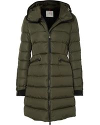 Moncler Green Hooded Quilted Shell Down Jacket