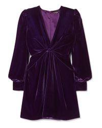 Tom Ford Purple Minikleid Aus Samt Mit Twist-detail