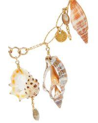 Chan Luu Metallic Vergoldete Kette Mit Muscheln Und Perlen