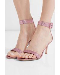 Gianvito Rossi - Pink Portofino Textured-lamé Sandals - Lyst